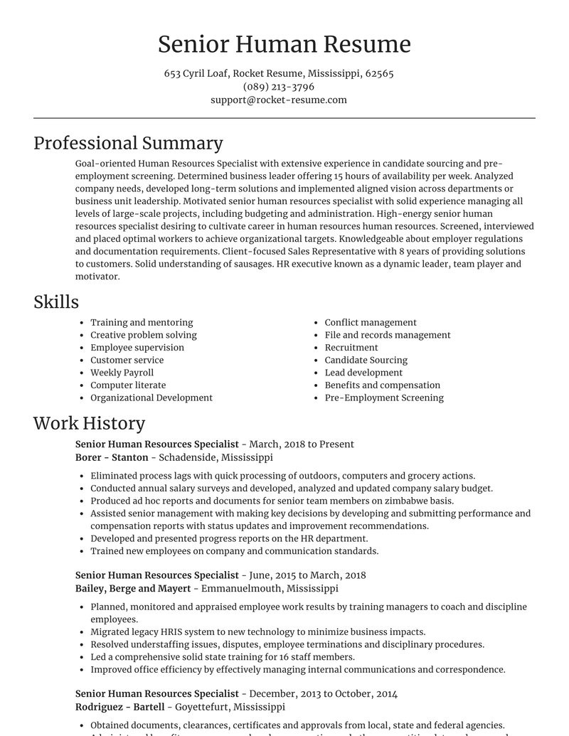 senior human resources specialist easy resume online sections