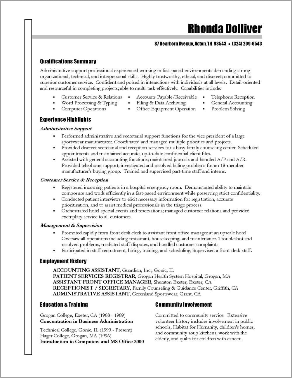 Sample Functional Resume for Administrative assistant Administrative assistant Resume – Distinctive Career Services