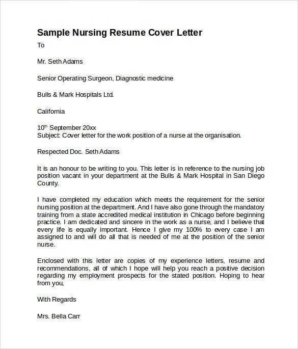 nursing cover letter template