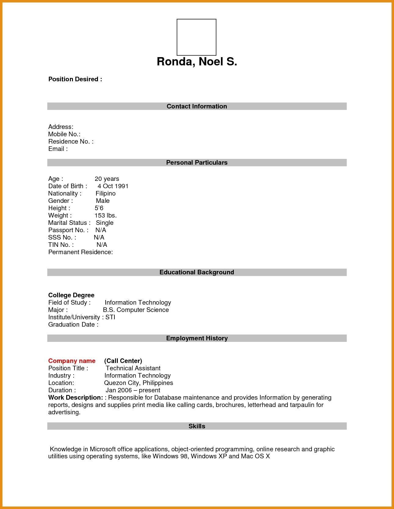 Sample Of Blank Resume for Job Application Resume format Blank - Resume format In 2021 Job Resume Template ...