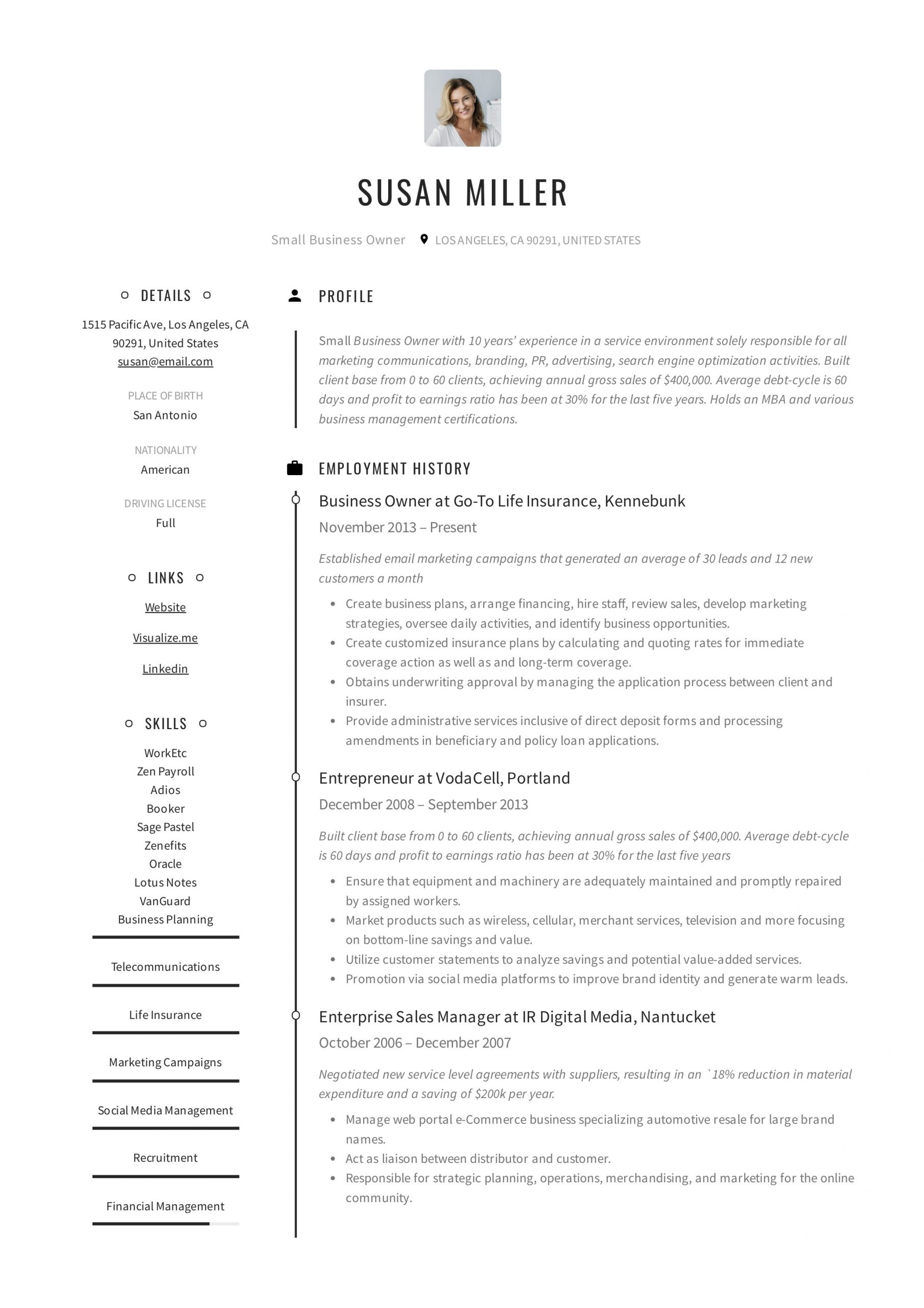 Sample Resume Cleaning Company Owner Manager Small Business Owner Resume Guide  19 Examples Pdf 2020