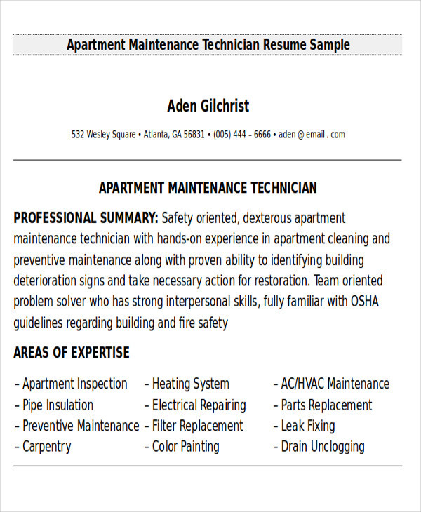 Sample Resume for Apartment Maintenance Technician Free 9 Sample Maintenance Technician Resume Templates In