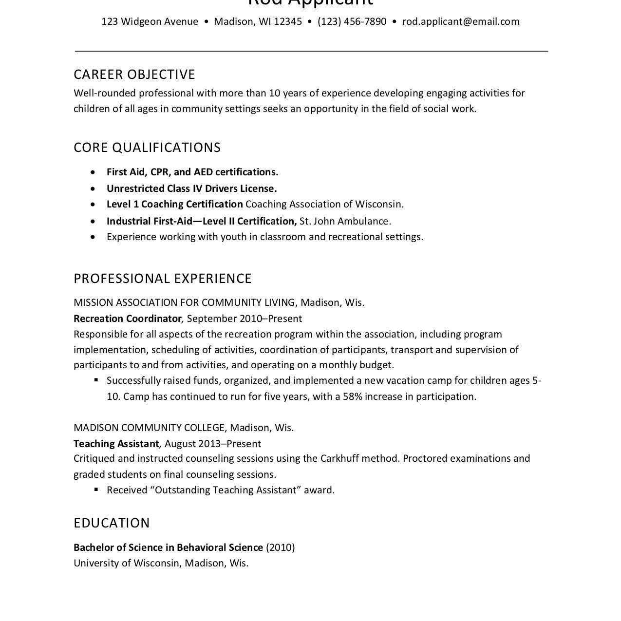 childcare social services worker resume example