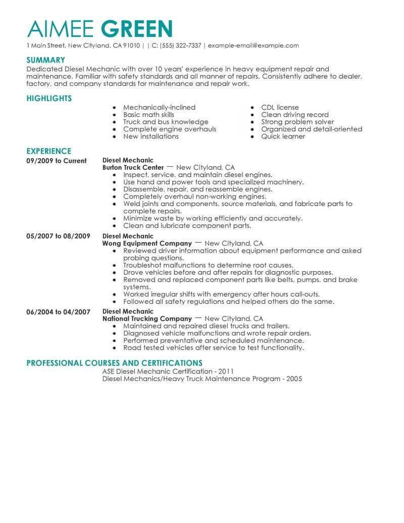 Sample Resume for Diesel Truck Mechanic Resume Examples Diesel Mechanic , #resumeexamples Sales Resume ...