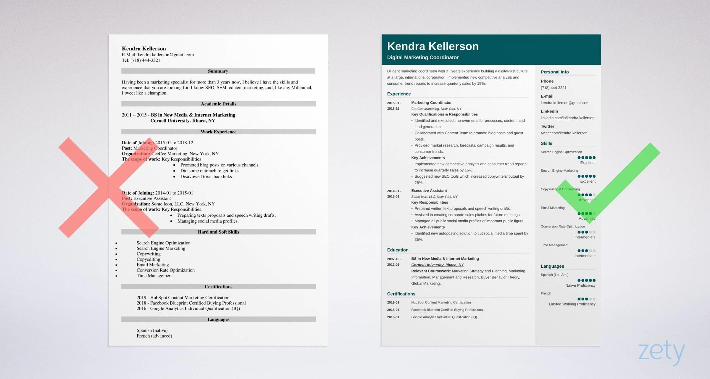digital marketing resume example