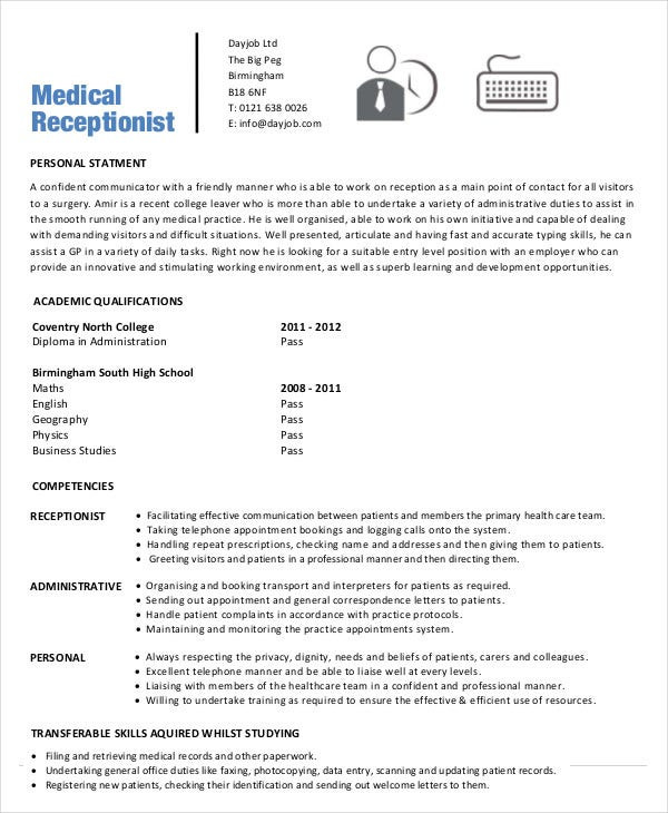 Sample Resume for Doctors Office Receptionist 5 Medical Receptionist Resume Templates Pdf Doc