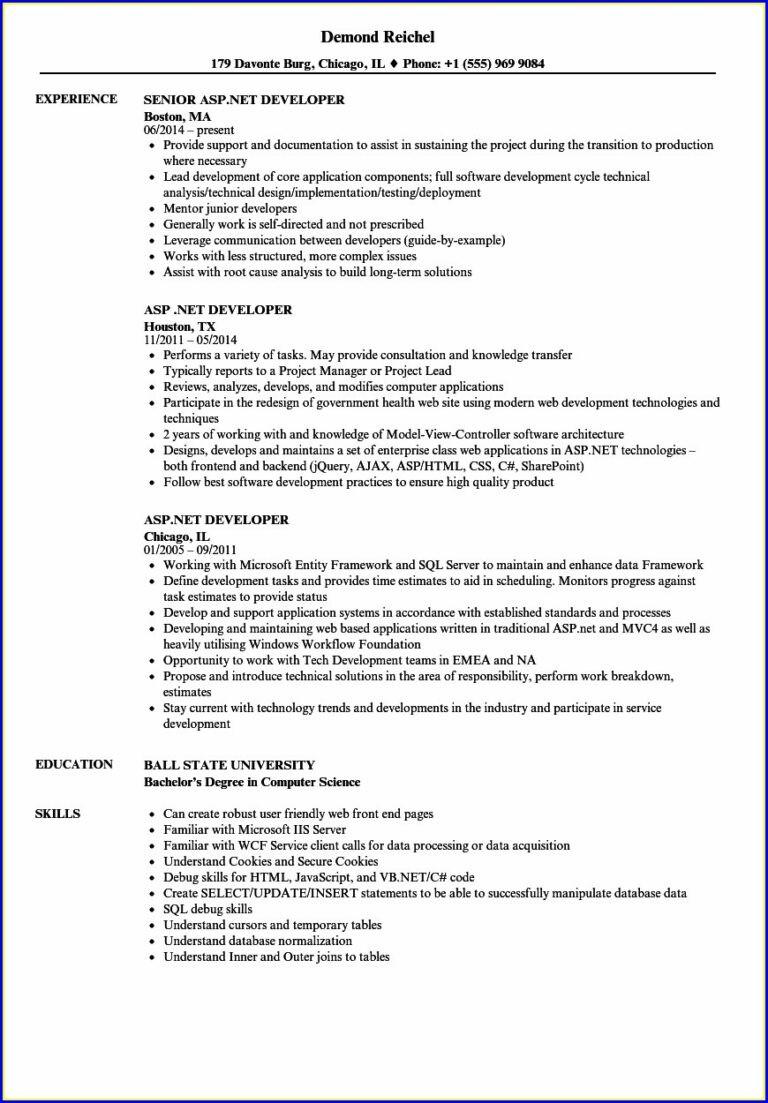 Sample Resume for Dot Net Developer Experience 5 Years Sample Resume for Dot Net Developer Experience 5 Years