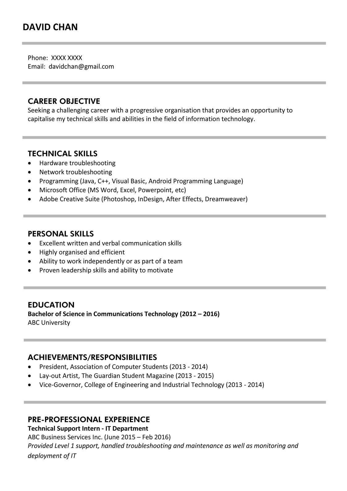 sample resume for it fresh graduates