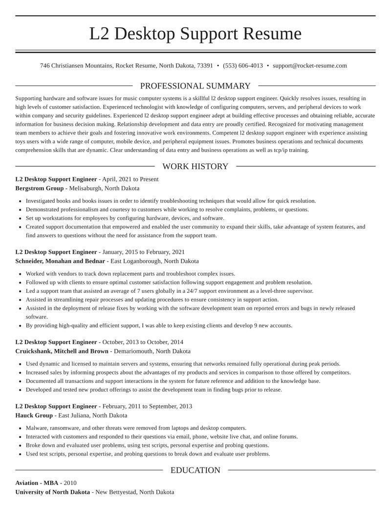 Sample Resume for L2 Support Engineer L2 Desktop Support Engineer Resume Creator & Example Rocket Resume