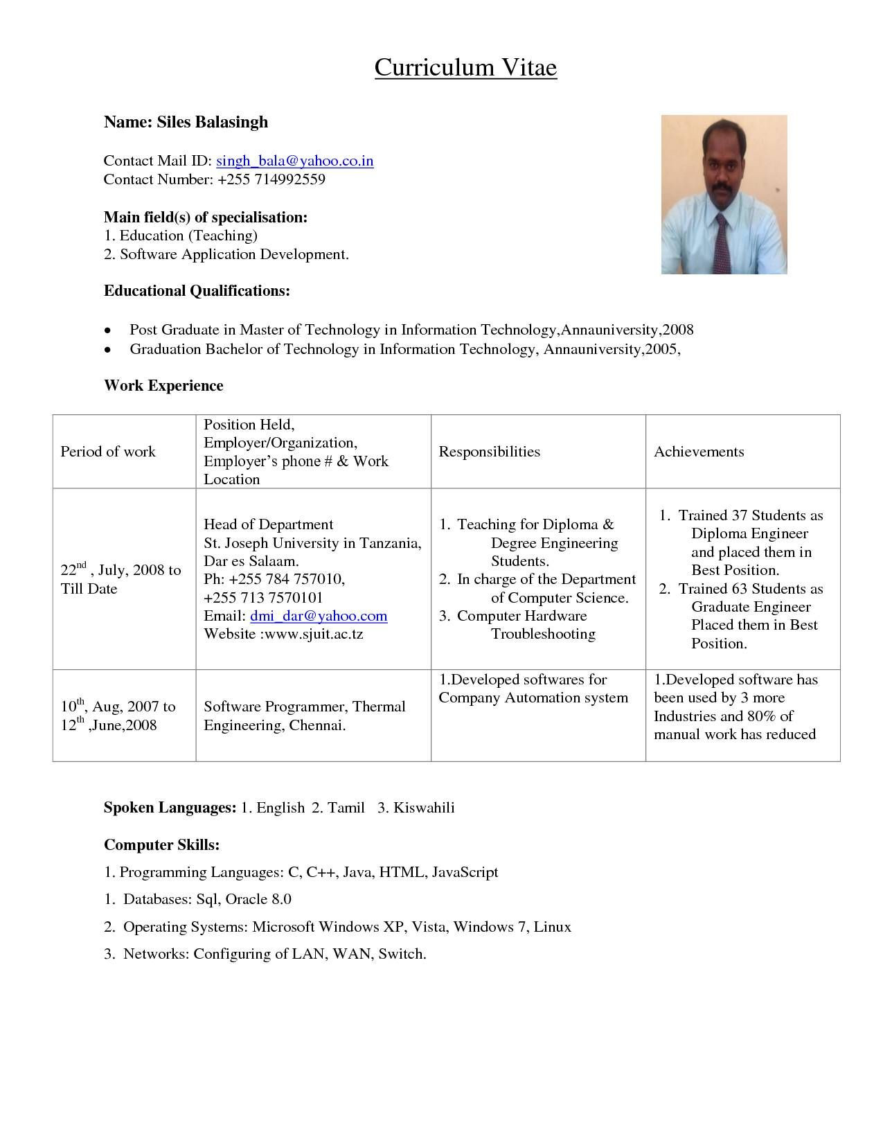 resume format for lecturer job in engineering college