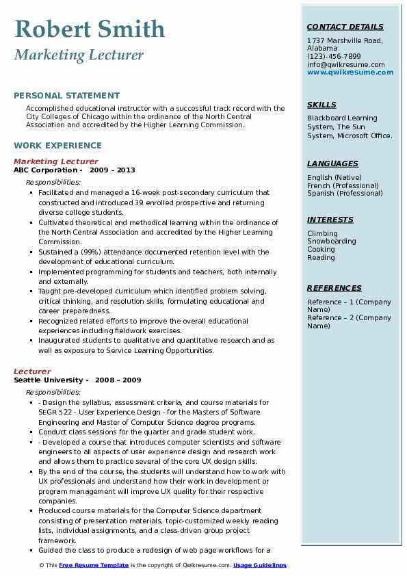sample cv for lecturer position in