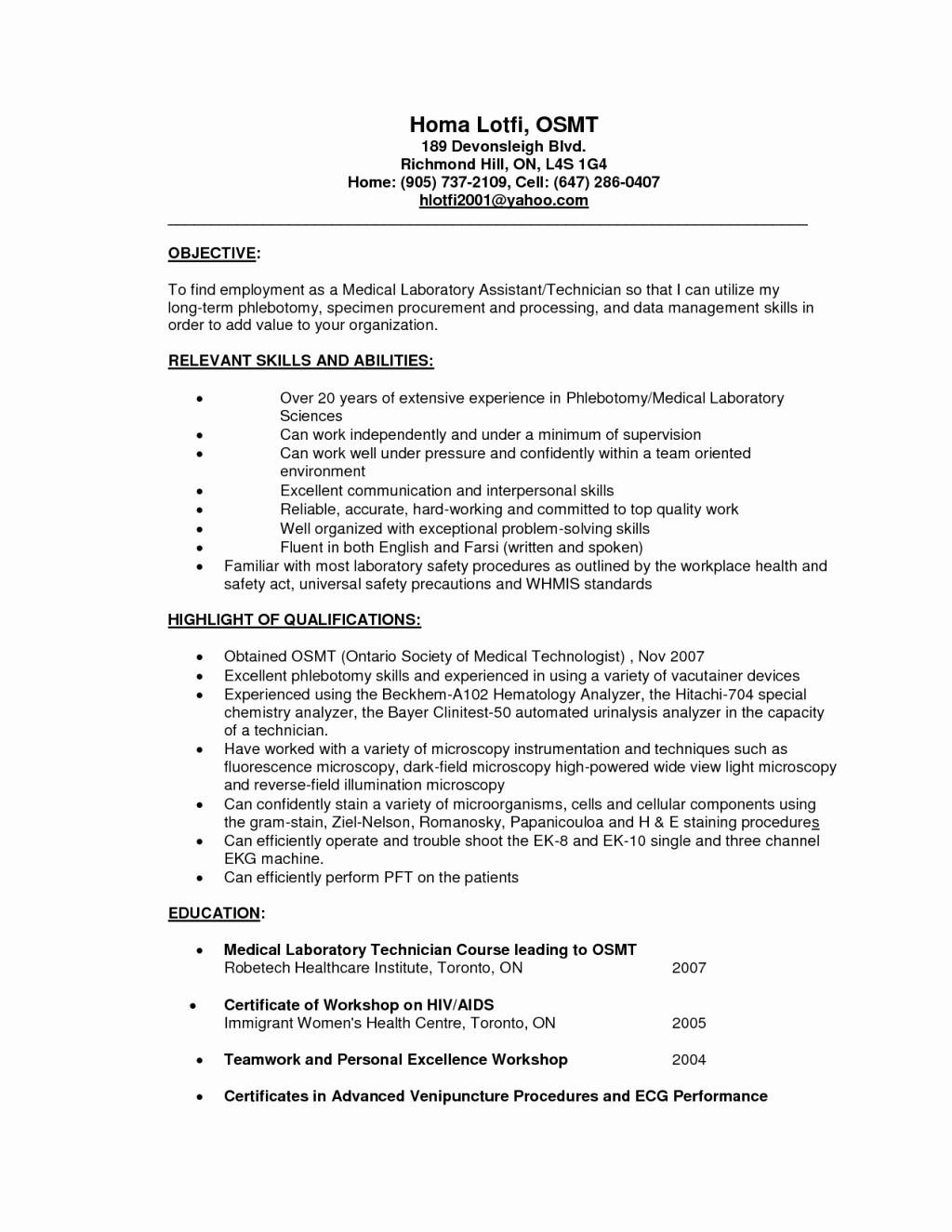 sample resume for medical technologist fresh graduate