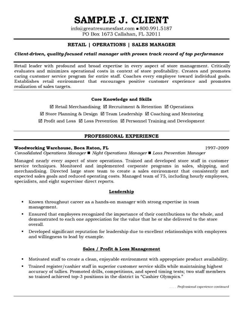 professional resume samples retail