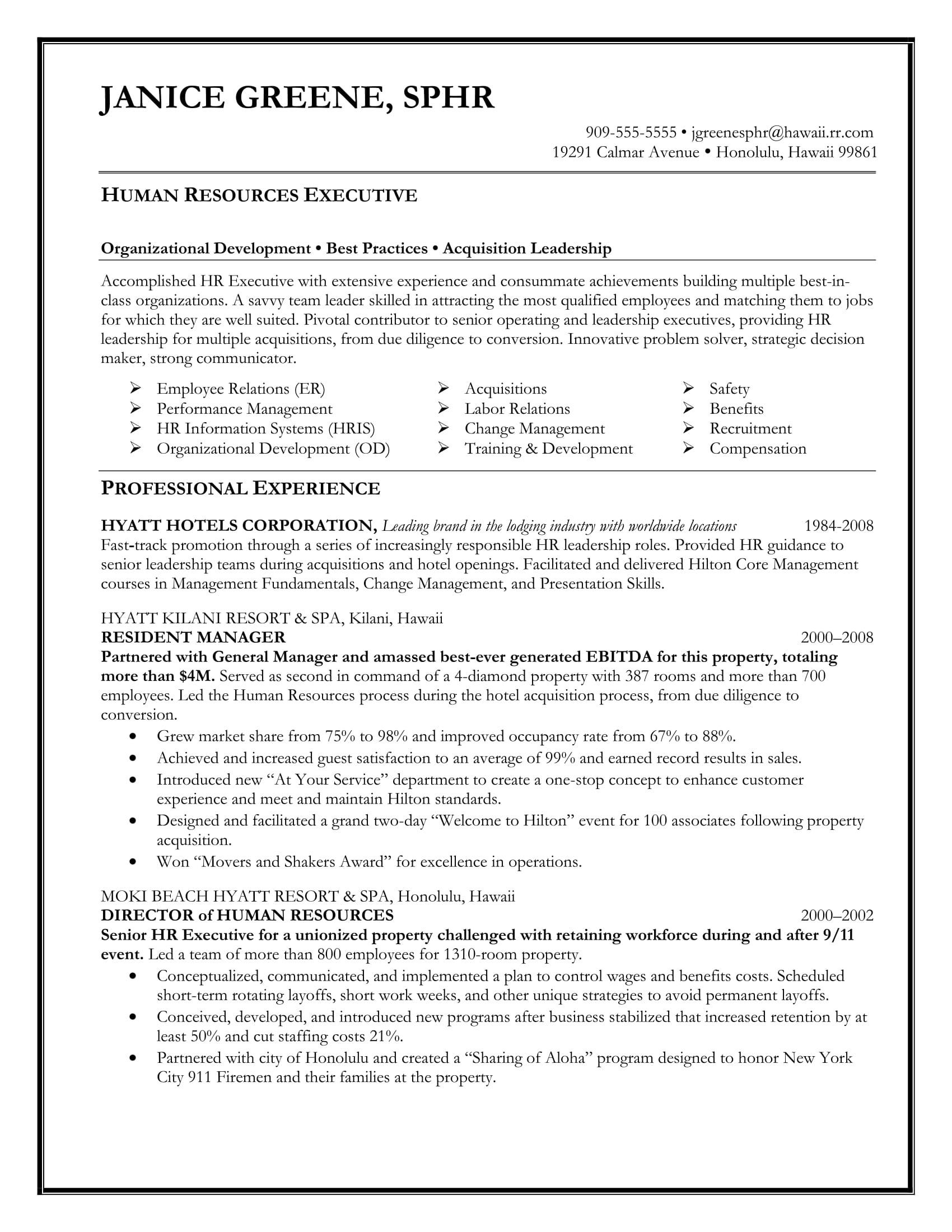 sample executive resume templates