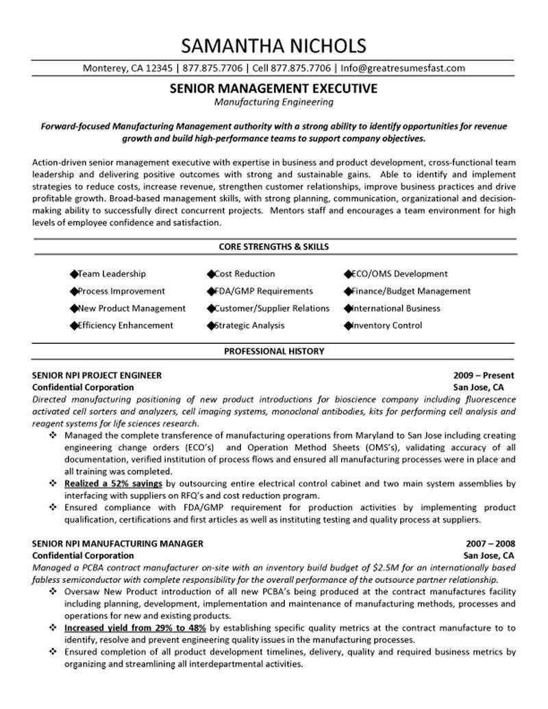 Sample Resume for Senior Management Position Senior Management Executive (manufacturing Engineering) Resume ...