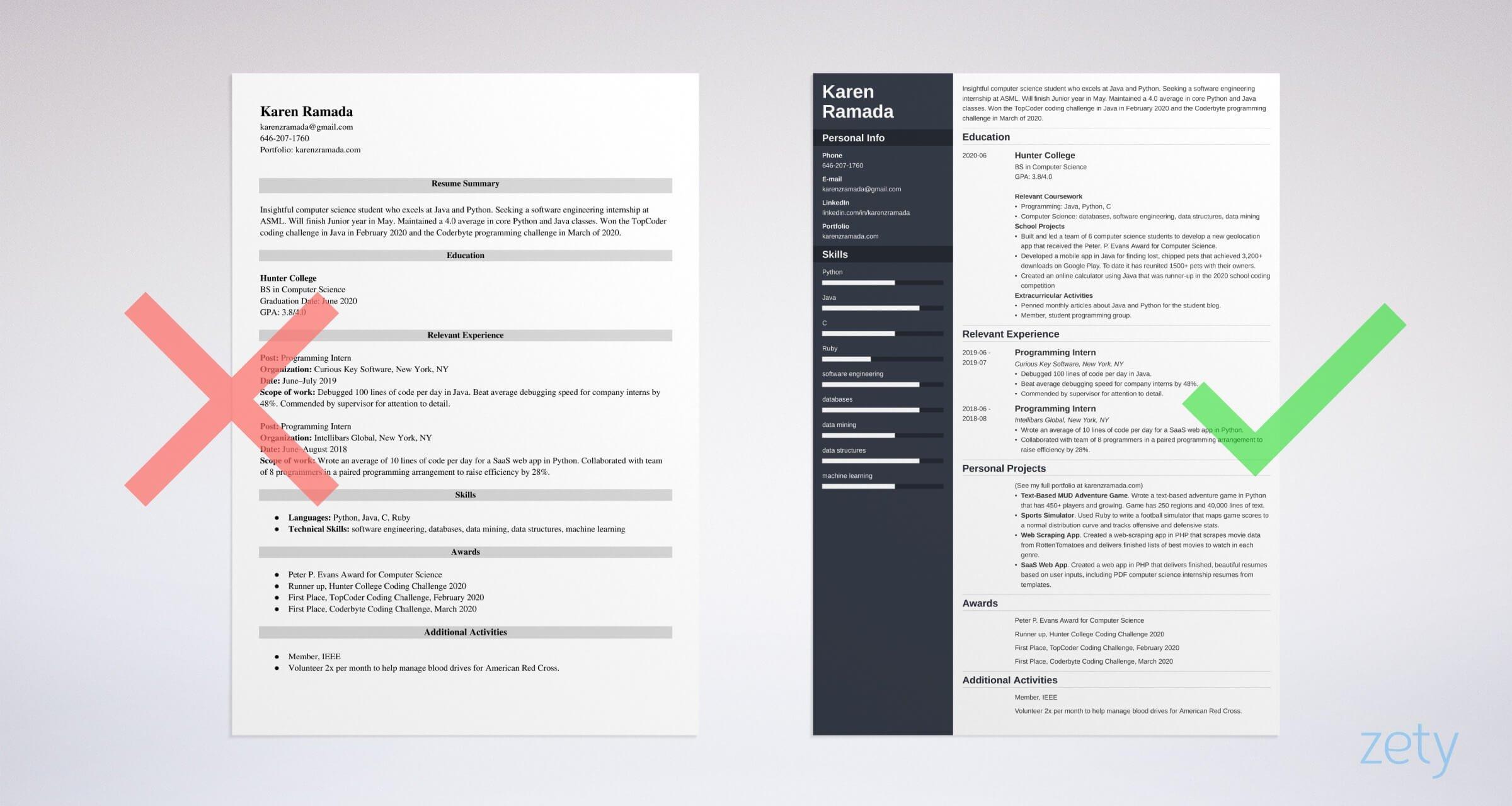 puter science internship resume example