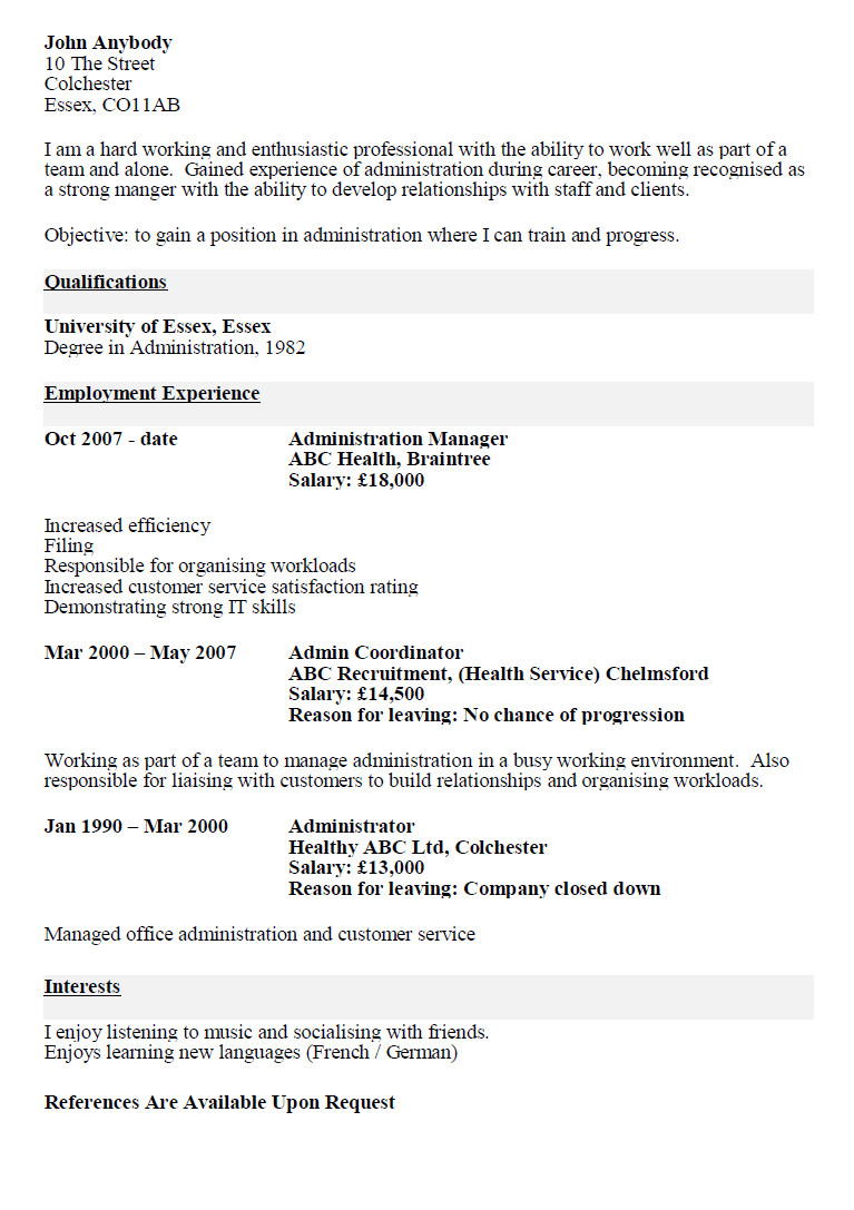 resume template never worked before