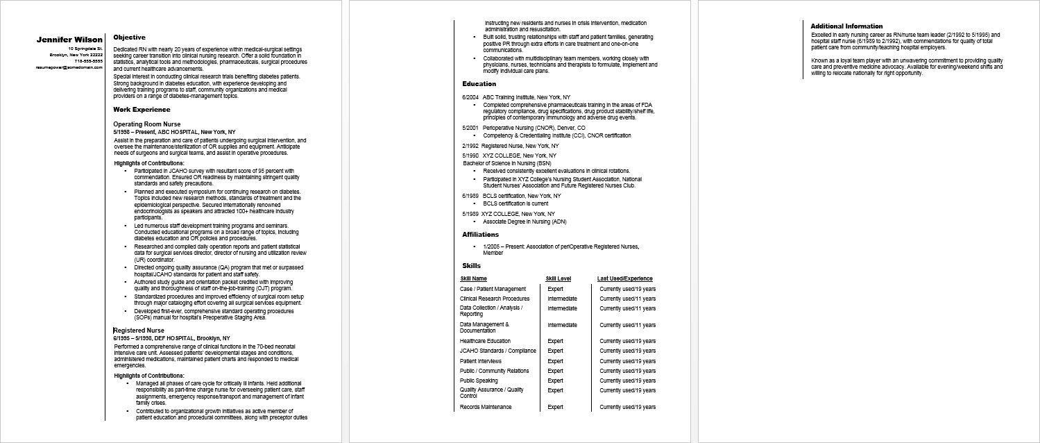 sample resume for rn career changer