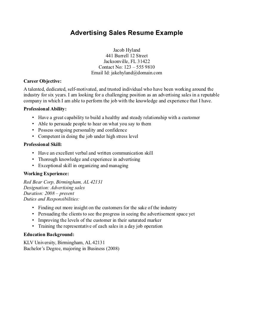 Sample Resume Objectives for Sales Representative Sales Advertising Resume Objective Sample Resume Objectives ...
