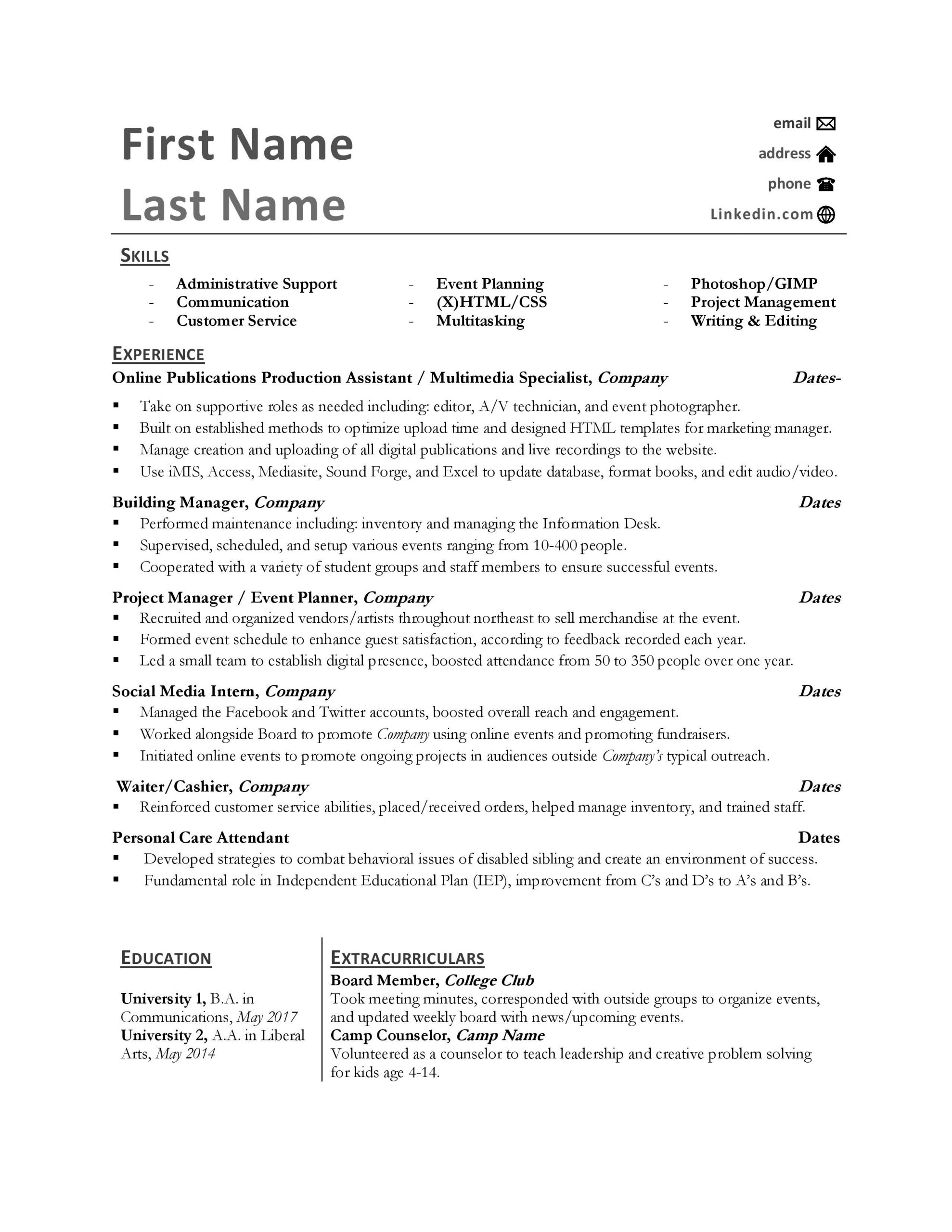 help a recent grad with an awkward resume also