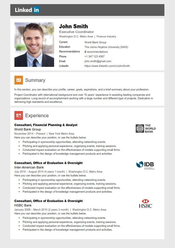 Sample Resumes with Linkedin Profile Link Linkedin Resume Template Trendy Resumes