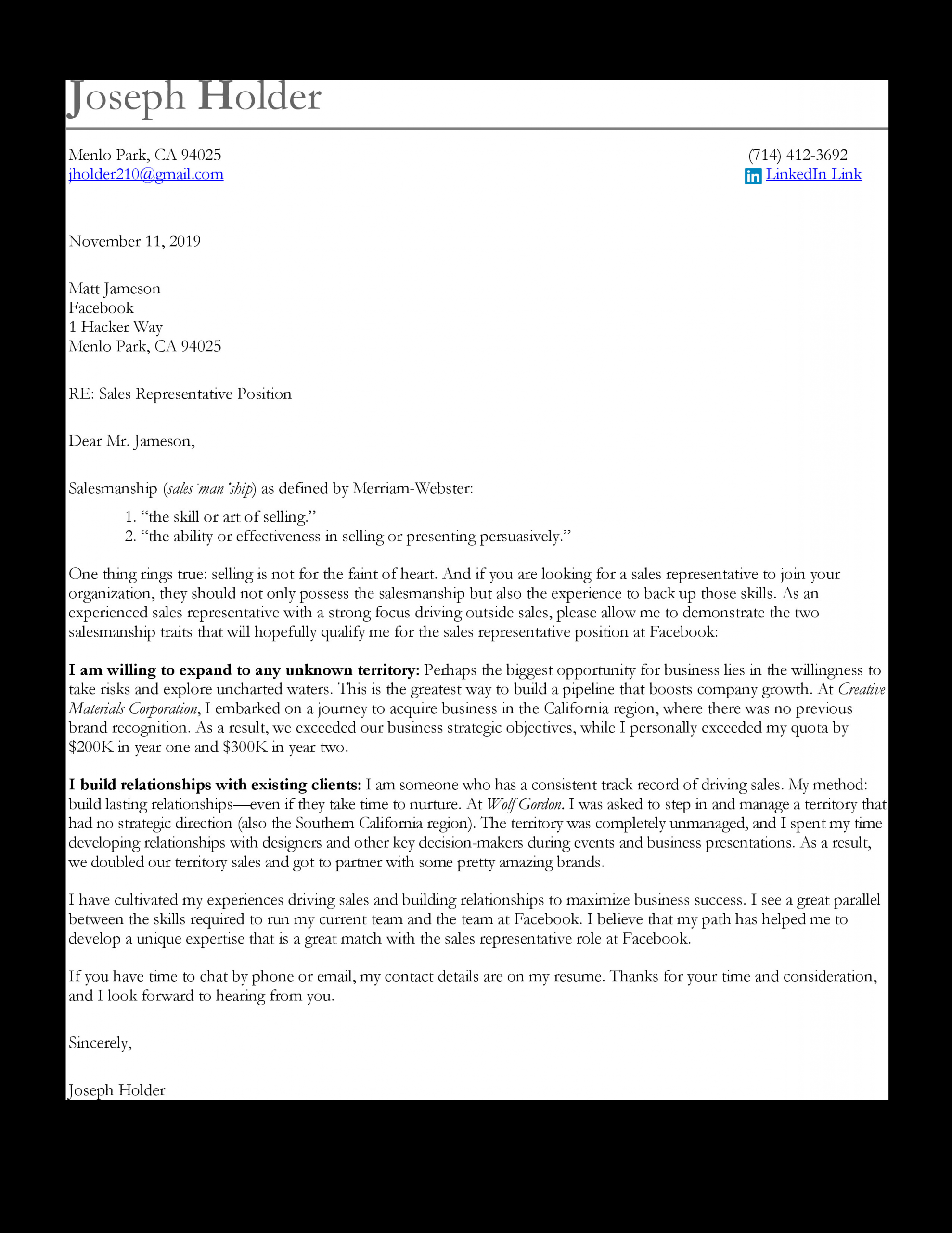 sales cover letter sample