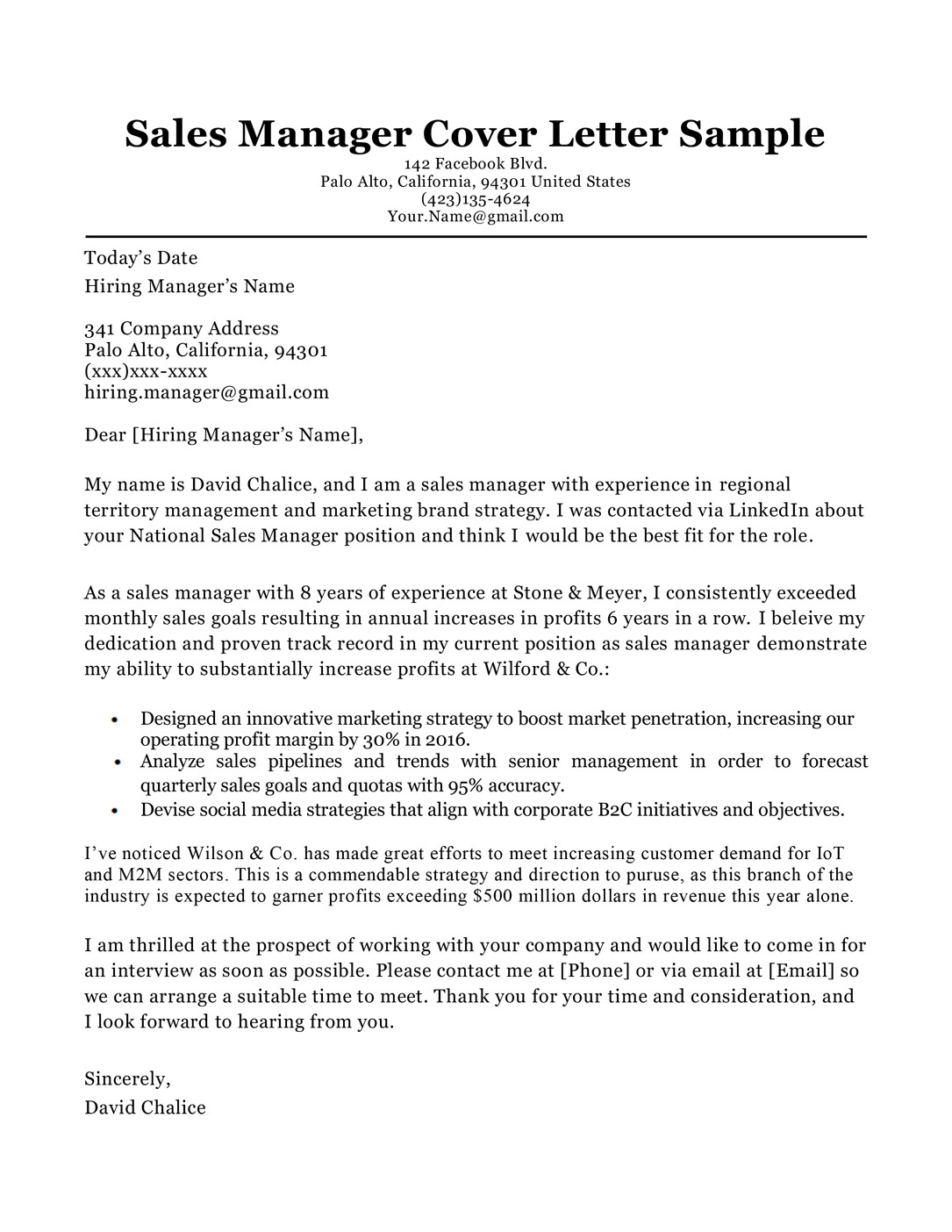 sales manager cover letter sample