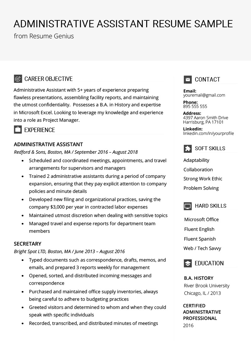 Samples Of Resume Objectives for Administrative assistants Administrative assistant Resume Example & Writing Tips
