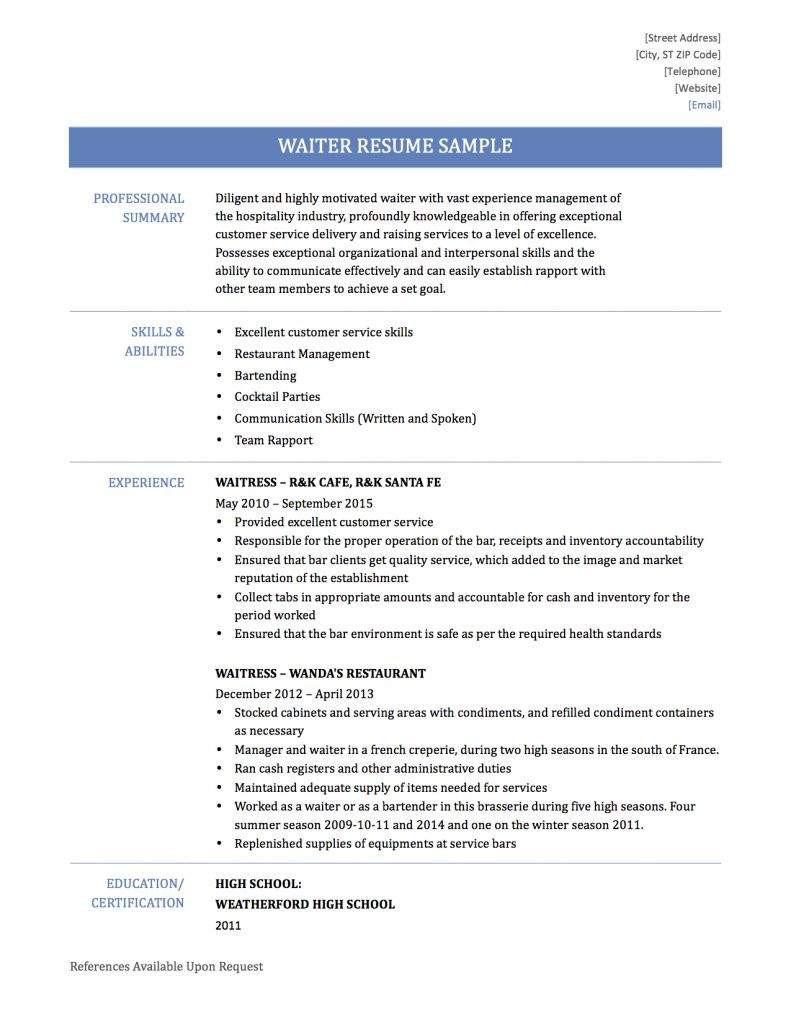 resume job description waiterml