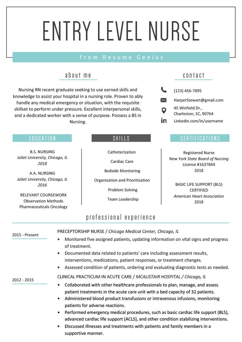 nursing entry level resume example