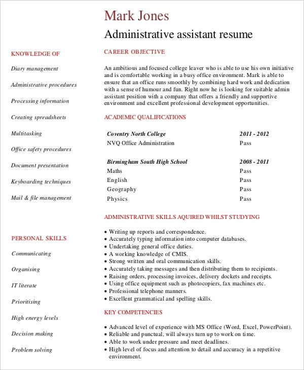 sample entry level administrative assistant resume