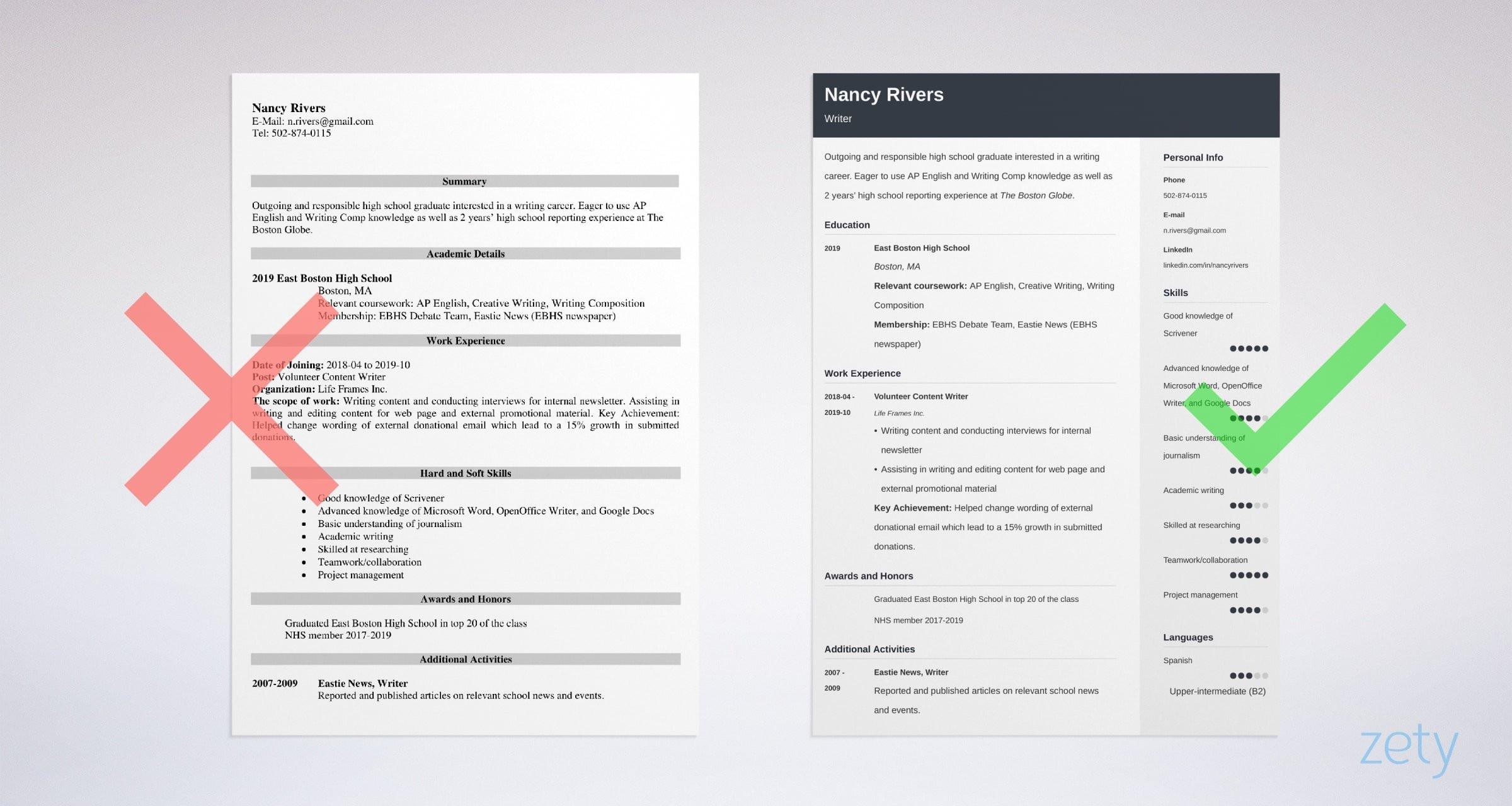 high school graduate resume example