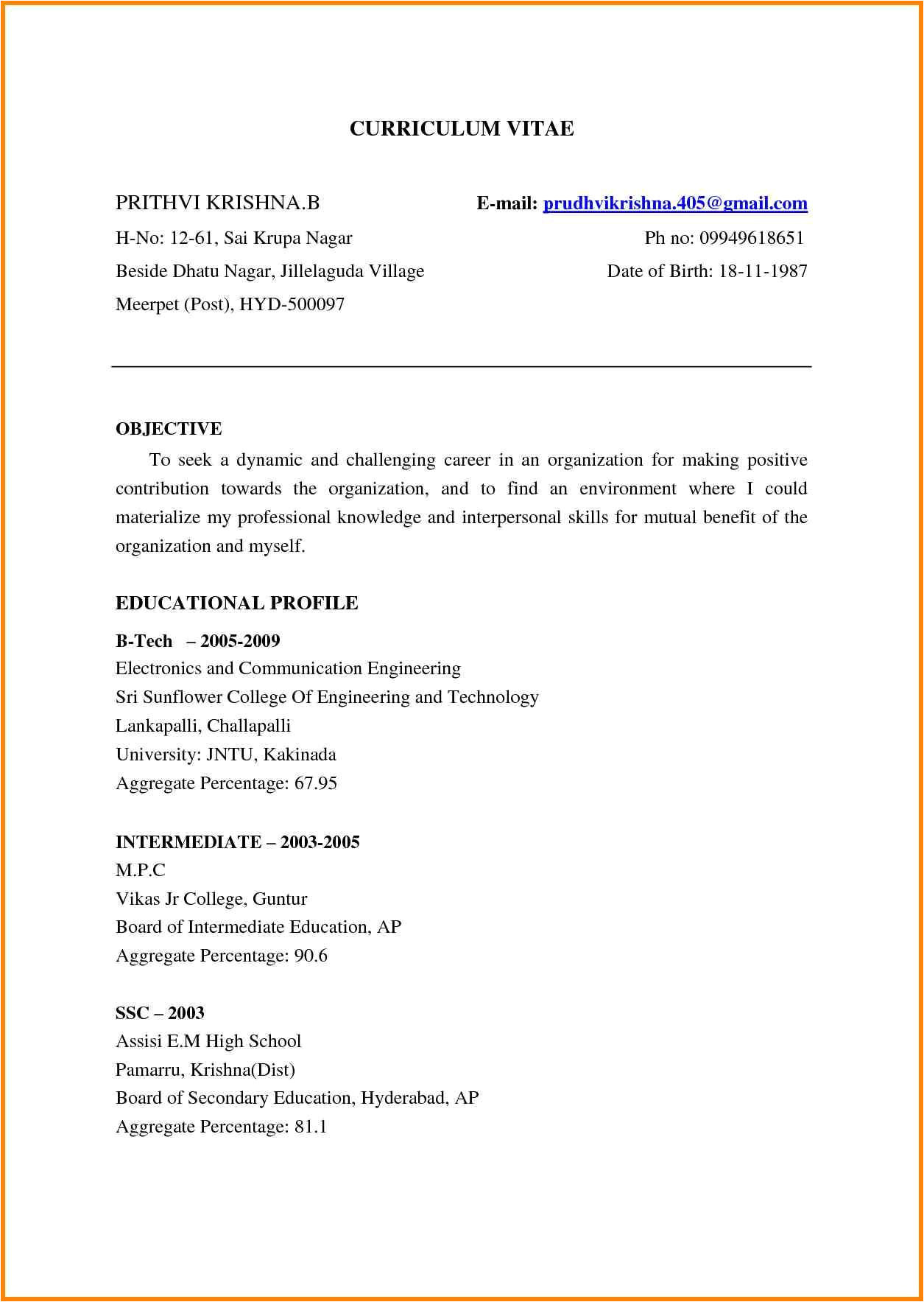 Sample Achievements In Resume for Freshers Sample Achievements In Resume for Freshers
