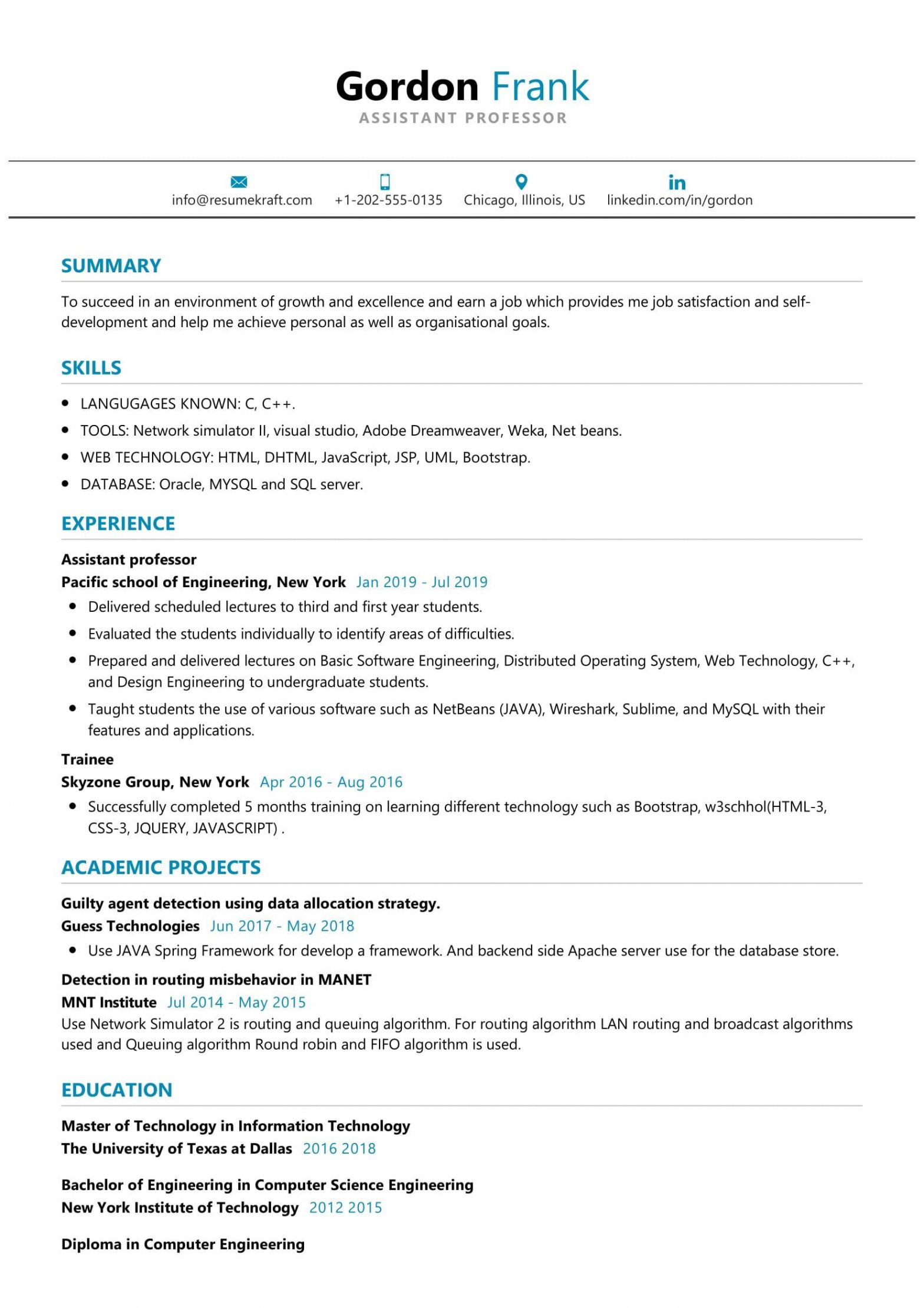 Sample Career Objective for assistant Professor Resume assistant Professor Resume Sample Resumekraft