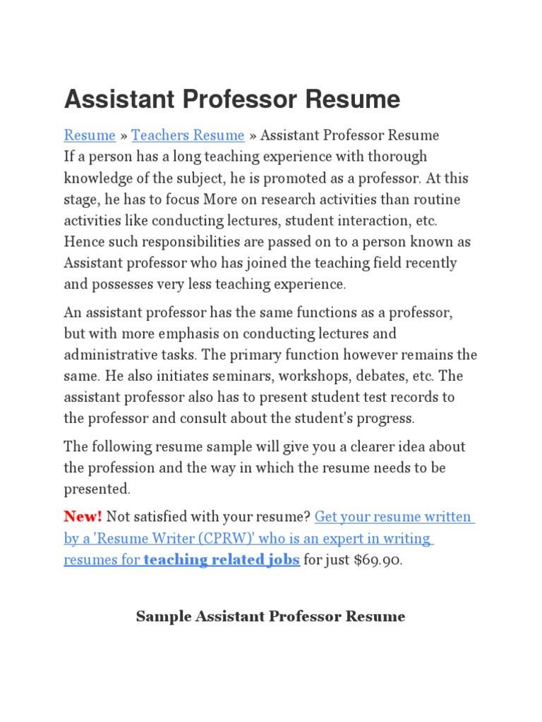 Sample Education Assistant Professor Resume