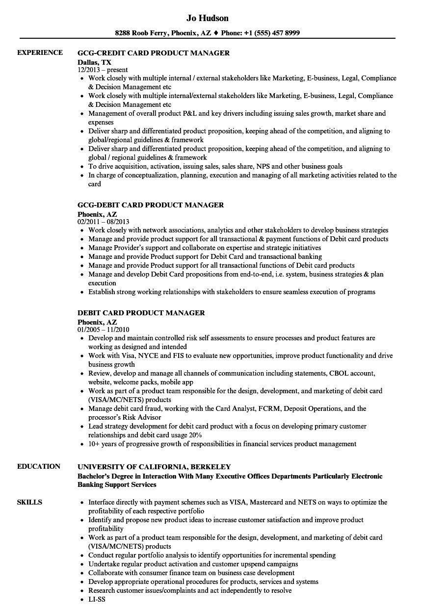card product manager resume sample