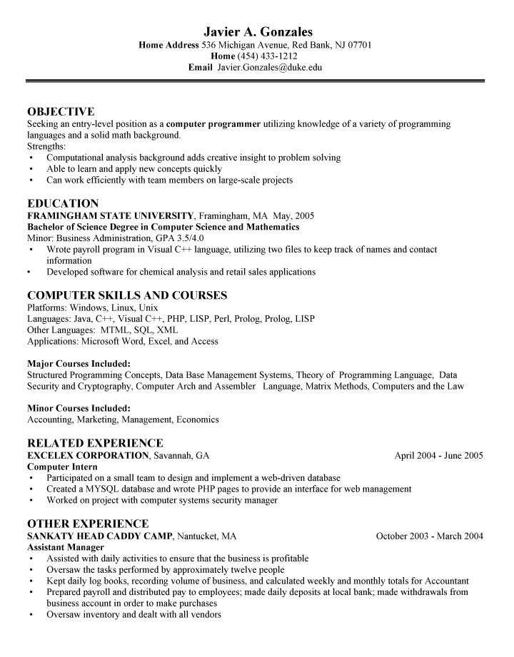 puter science entry level resume