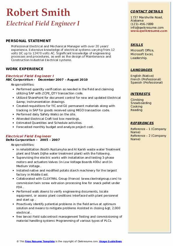 Sample Resume for Electrical Engineer In Construction Field Electrical Field Engineer Resume Samples
