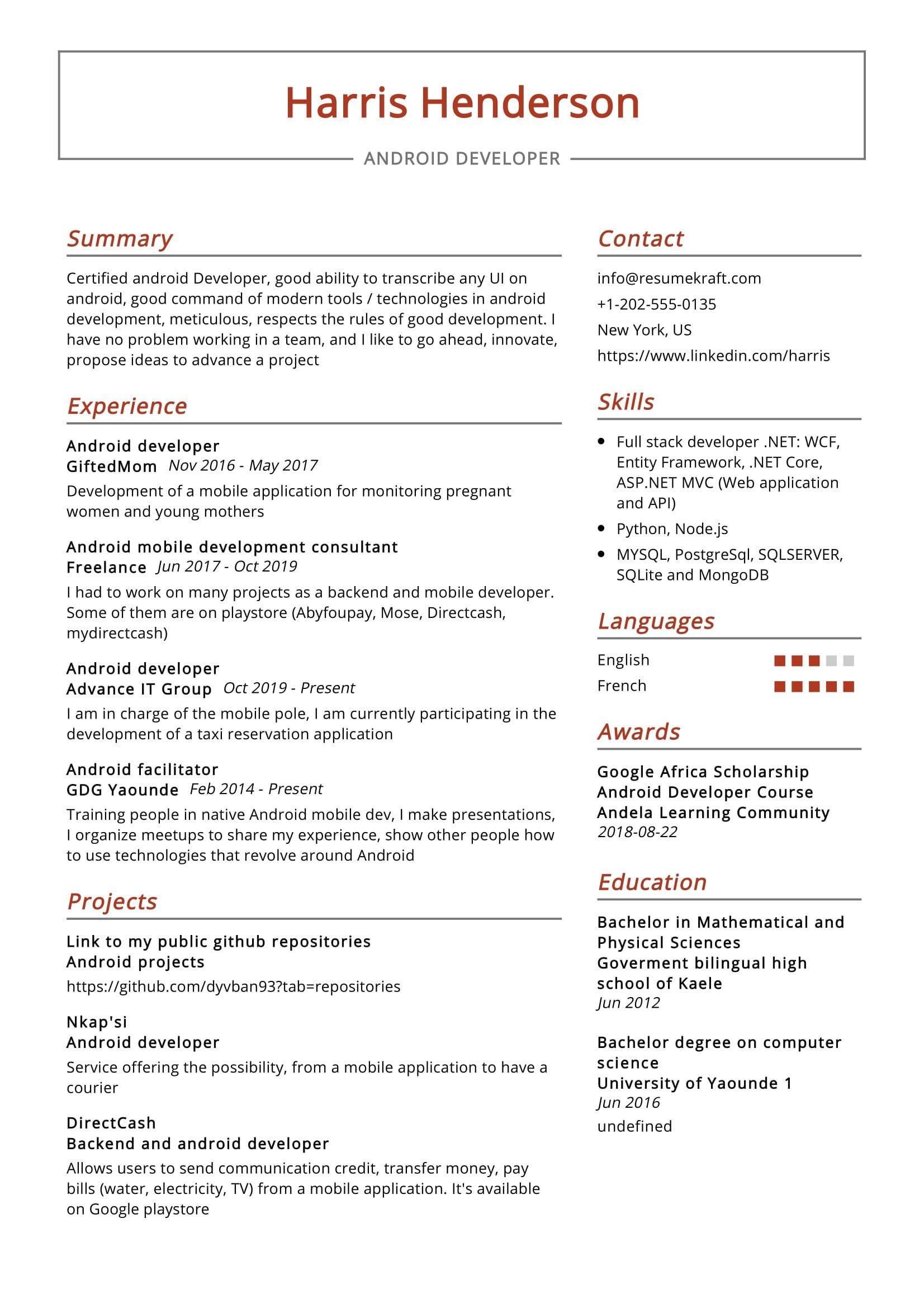 android developer resume sample