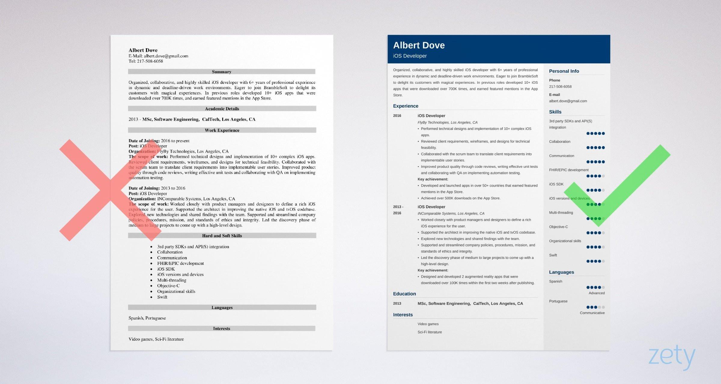 ios developer resume example