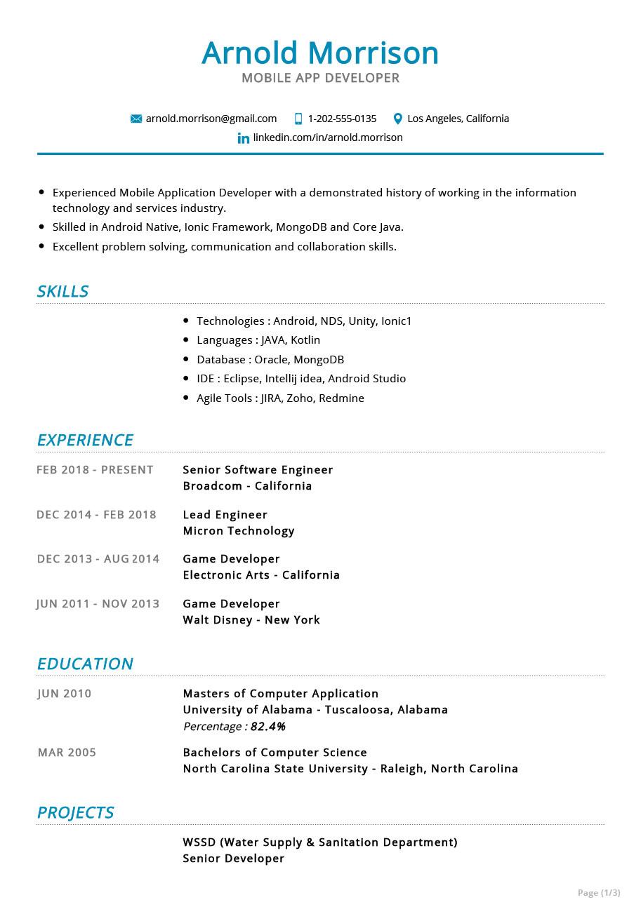 Sample Resume for Mobile Application Developer Mobile App Developer Resume Example Cv Sample 2020 - Resumekraft