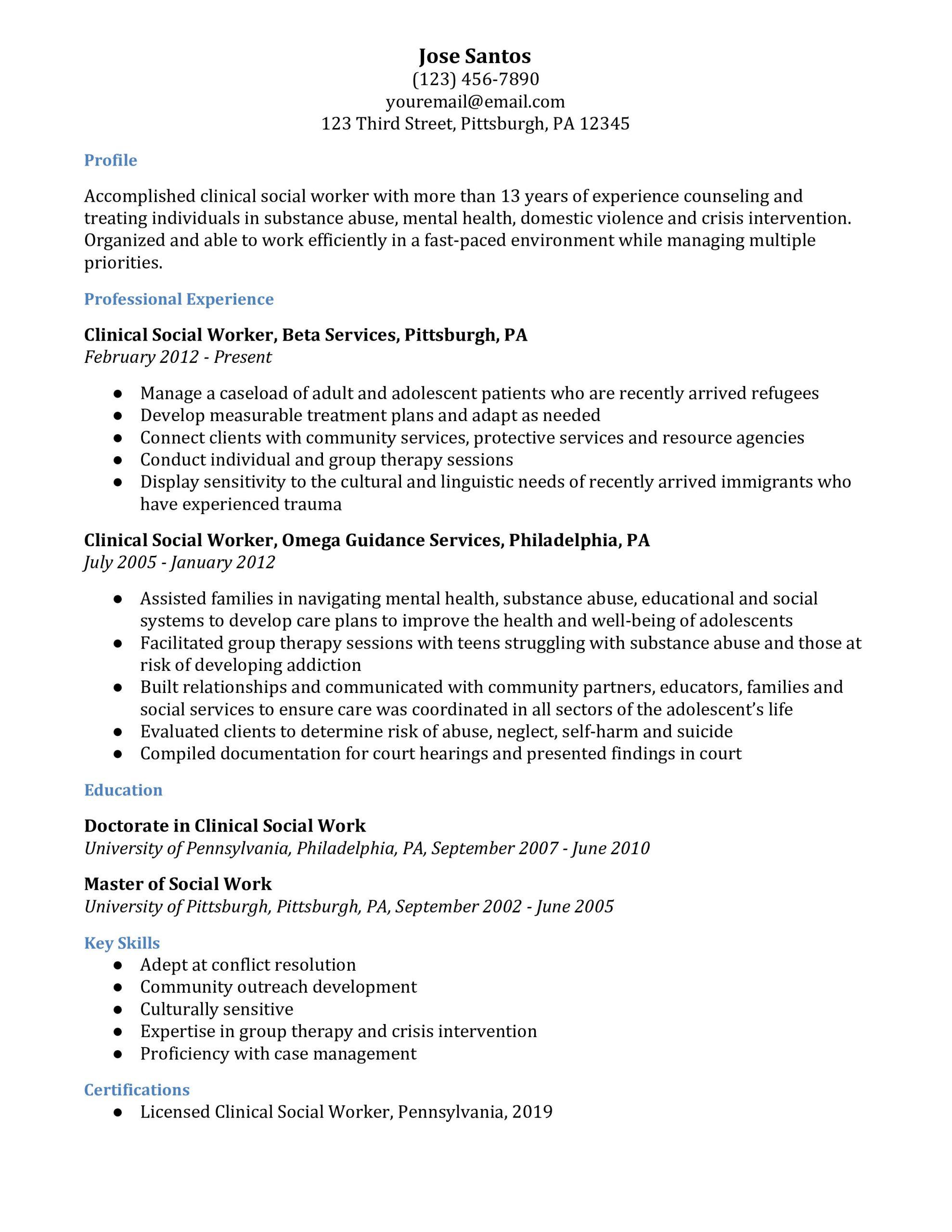 social work resume examples