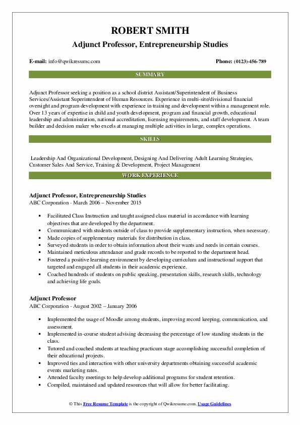 cover letter for adjunct professor position no teaching experience collection