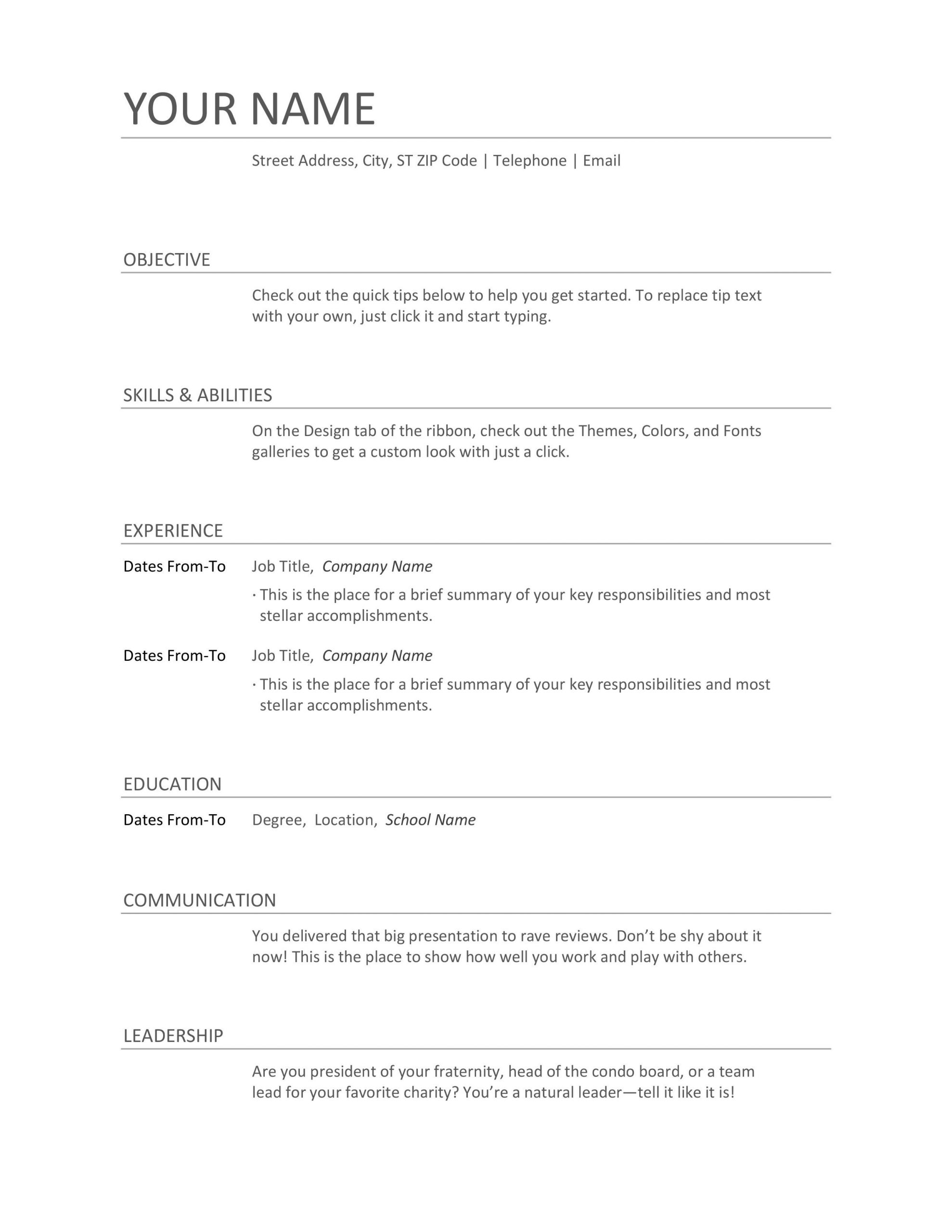 different formats of resume