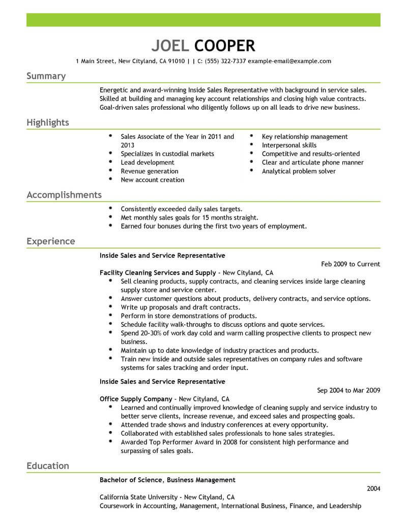 Inside Sales Account Manager Resume Sample Best Inside Sales Resume Example From Professional Resume Writing ...