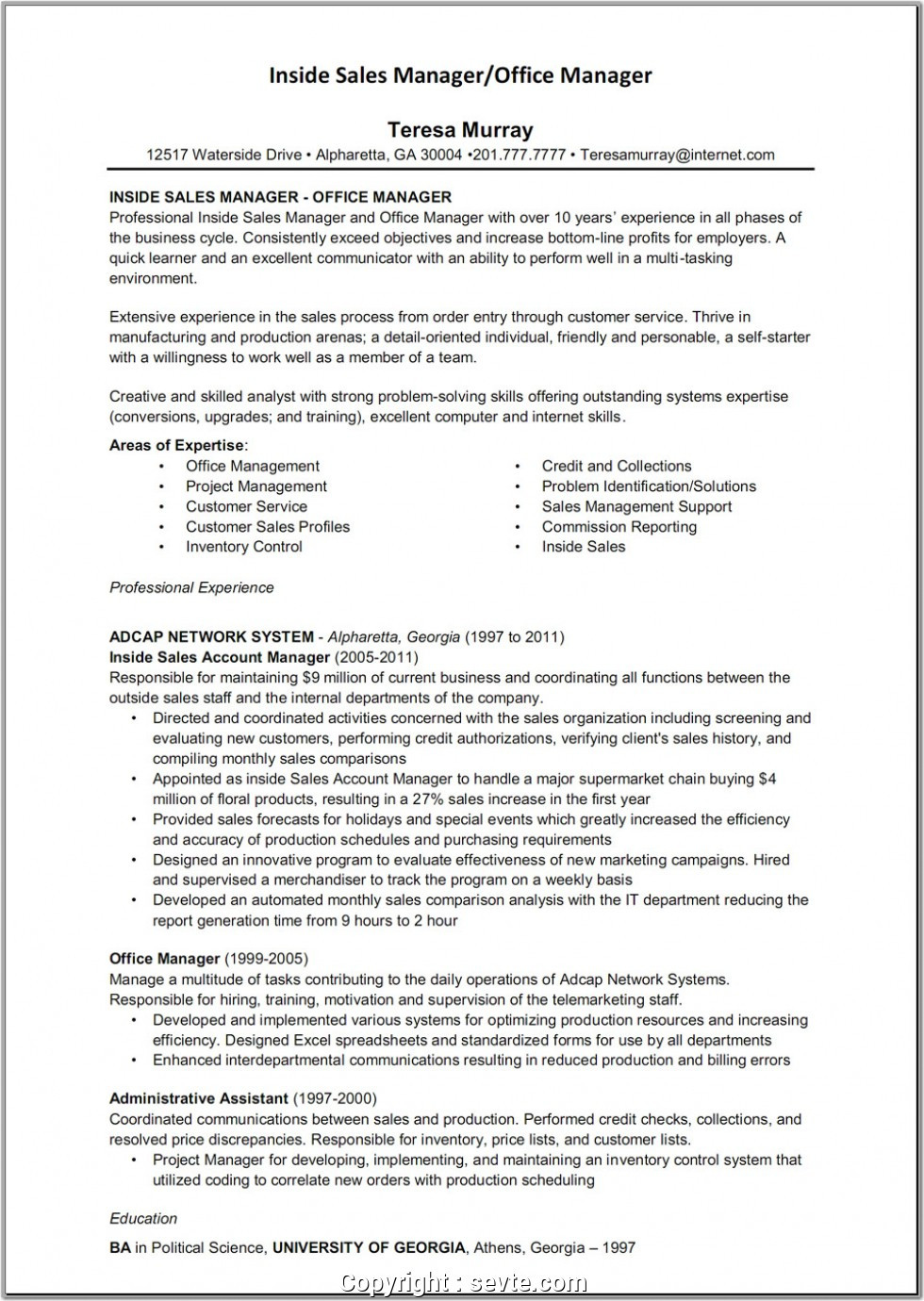 inside sales administrator resumeml