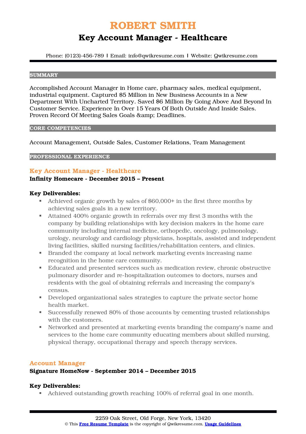great account manager resume