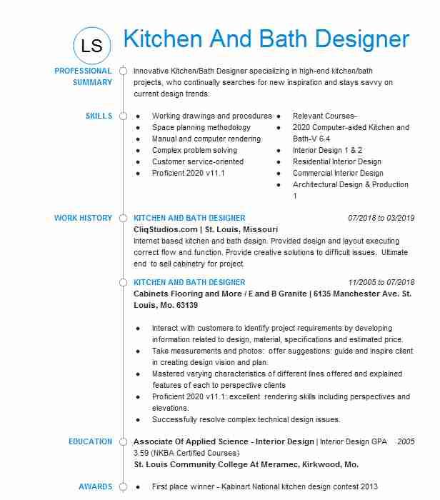 Kitchen and Bath Designer Resume Sample Kitchen and Bath Designer Resume Example Builders Best