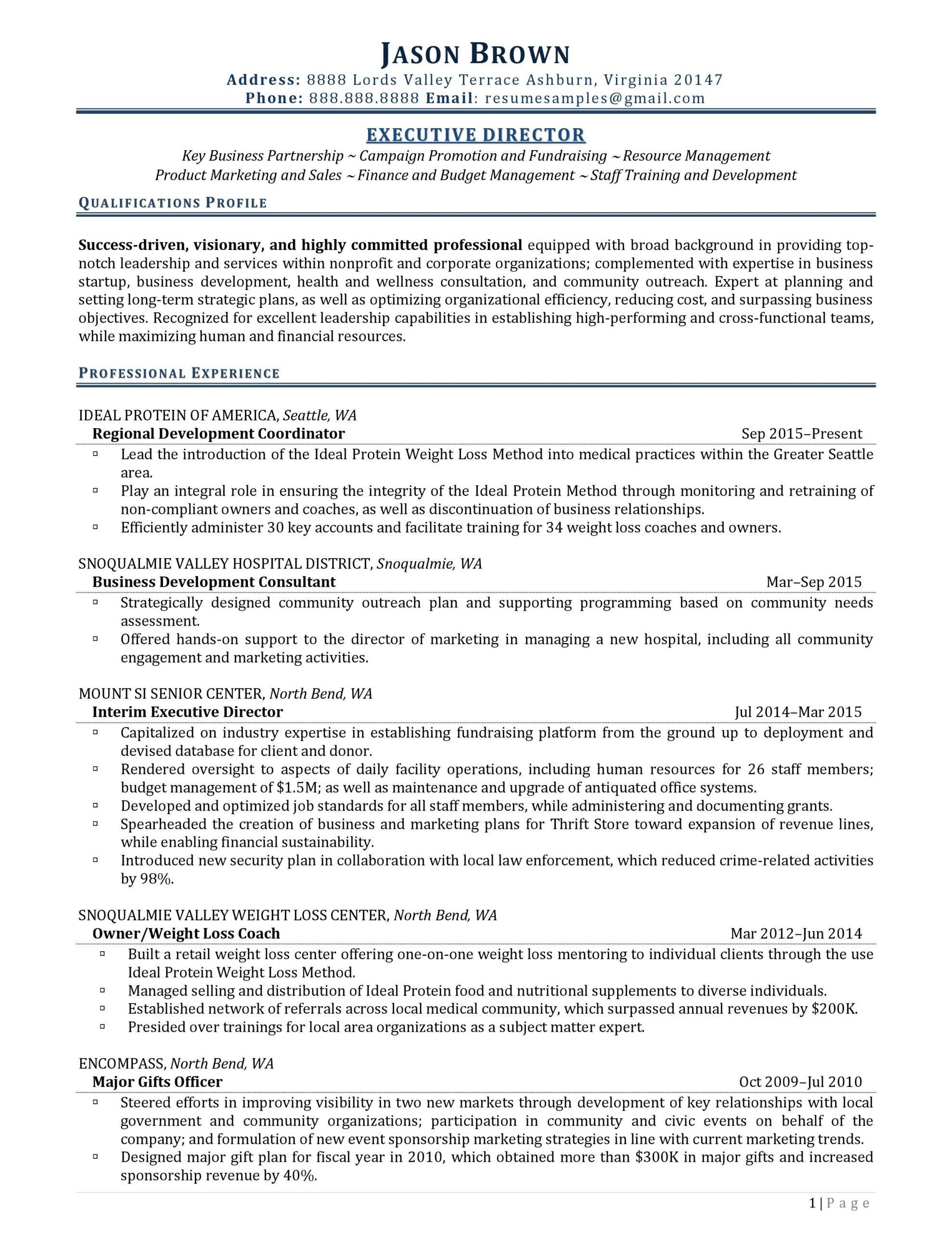 nonprofit resume examples
