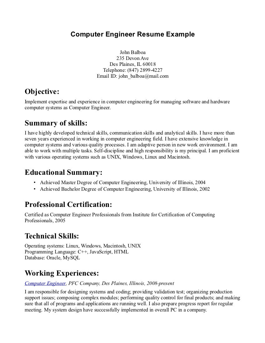 Resume Objective Sample for It Professional Resume Objective Examples Computer Engineer – Tipss Und Vorlagen